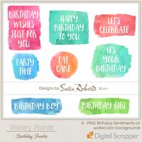 Watery Words Birthday Freebie