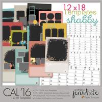 12x18 Calendar Templates | Shabby 2016