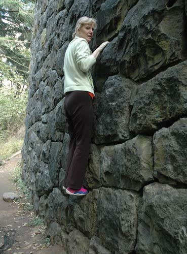 Linda on the Rock Wall