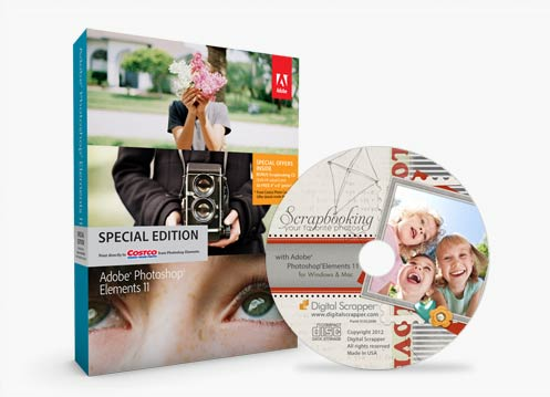 Photoshop Elements 11 Costco Box and CD from Digital Scrapper