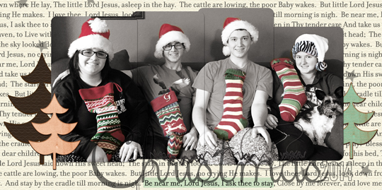Page/Photo--Jen White; Paper/Embellishments--Spirit of Christmas by HGD by Laurie Ann; Font--5th Grade Cursive