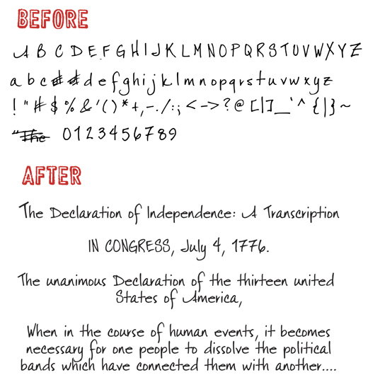 A before and after sample of the work Darcy Baldwin does to create a handwriting font from your own handwriting. Find it at digitalscrapper.com