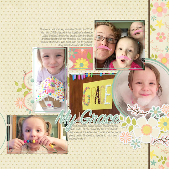 Page & Photo:  Jen White | Kit: Eggs In My Bonnet by Amber Shaw | Fonts: Helvetica Neue Light, SignPrinterHouseScript