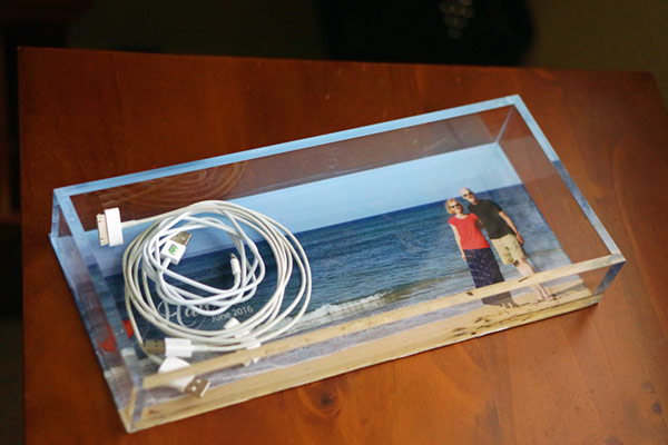 iPhone cords in tray