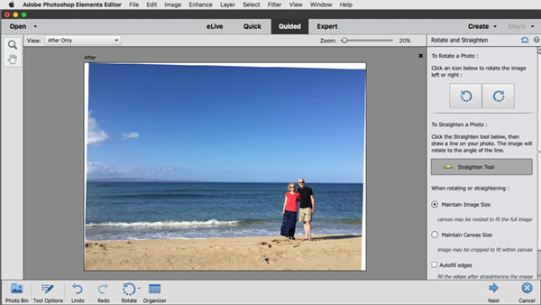 Straighten photo in Photoshop Elements