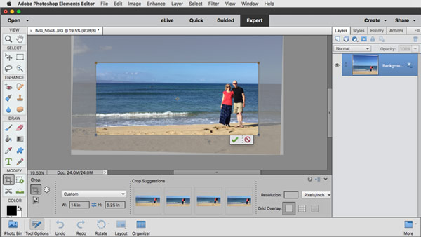 Crop your photo in Photoshop Elements