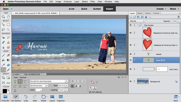 Add a title in Photoshop Elements