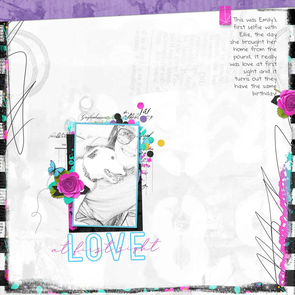 Page: Kellie Linn Photo: selfie from my daughter Template: Minimal Design from Design Beautiful Pages Kit: A Splash of Color from River Rose Designs Fonts: Grand Junction, DJB Annalise the Brave Tab: Page Design Class Digital Scrapper