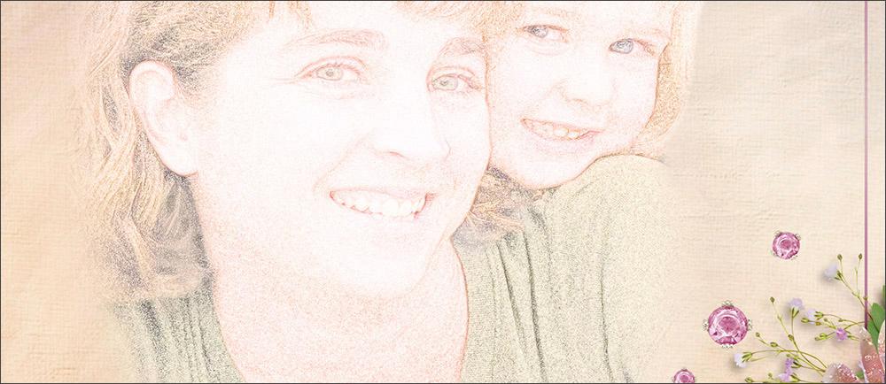 Photo and Sketch: Karen Schulz Word art: Mothers and Daughters Word Art by Karen Schulz Embellishments: Mothers and Daughters Kit by Karen Schulz Paper: Mothers and Daughters Kit, Paper 28, by Karen Schulz Font (names/date): Candera Regular