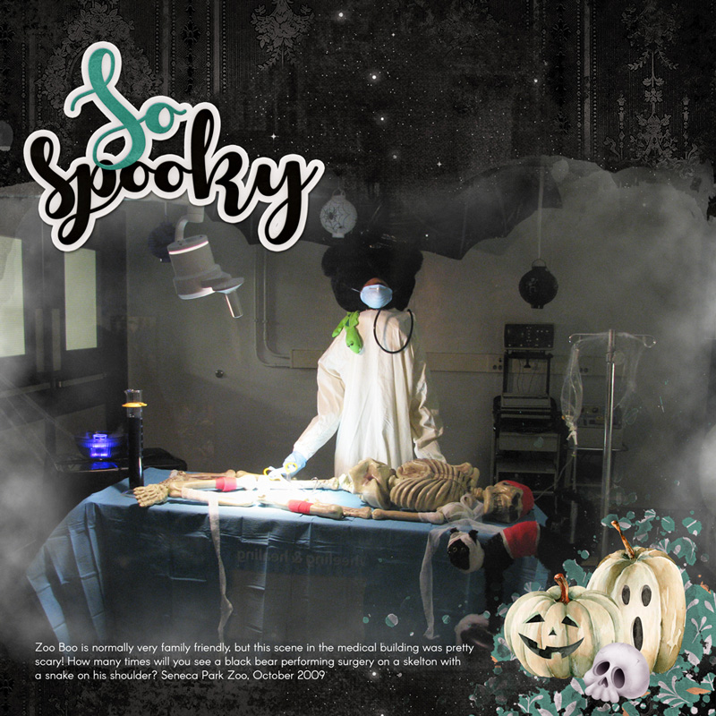 Page and Photo by Carla Shute Tutorial: Creating Fog by Karen Schulz Kits: Hello Halloween by Aimee Harrison, Special Pumpkin by Thaliris Designs, Hallows Eve by Brandy Murry, Scrap It Now 3 Template by Digital Scrapper Font: Arcon