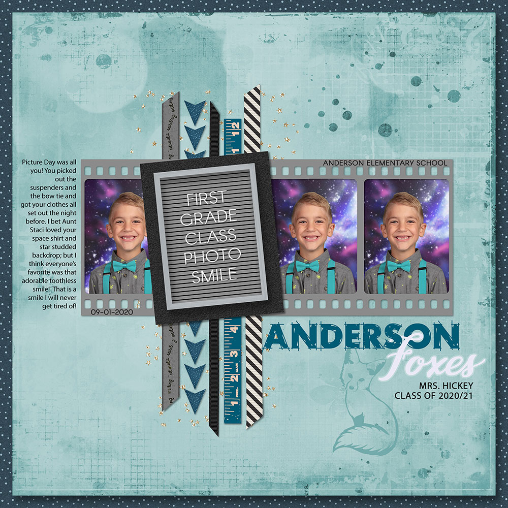 Page: First Grade Smile by Nanci Radford; Photo: Anderson Elementary School Tutorial: Letterboard Letters with Layer Styles by Jenifer Juris Kits/Supplies: Everyday Beauty by Jennifer Fehr, Stories:365 by Kristin Cronin Barrow, Back to School by Marcie Marziali, Sports Mad by Studio Flergs; Fonts: Myriad Pro, Arcon, Rough Draft and Cassandra