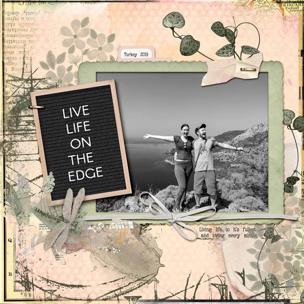 Page: Felicity Farnsworth; Photo: Used with permission K Farnsworth Tutorial: Letterboard Letters with Layer Styles by Jenifer Juris Kits: Valentina's Creations - Scream With Joy, Designs by Laura Burger - Something Special, Life is Short Save the Stories, Captured Moments 6. Tab - Elif Sahin; Fonts: Arcon Rounded, Underwood Typewriter