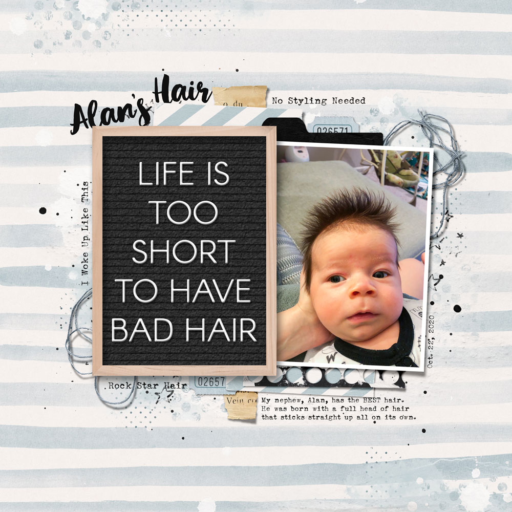 Page: Jenifer Juris, Photo: Jesica Sontag (sister) Tutorial: Letterboard Letters with Layer Styles by Jenifer Juris Kit: Enjoy the Moment by Bellisae Fonts: Arcon Rounded, April Blossom, Sears Tower