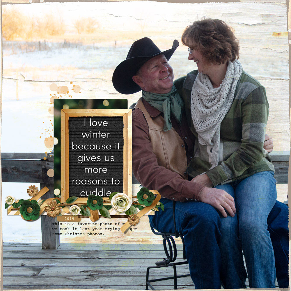 Page: Kellie Linn, Photo: Emily Linn Tutorial: Letterboard Letters with Layer Styles by Jenifer Juris Template: Design Beautiful pages from Digital Scrapper Kits: Christmas Chic by Studio NLD, The Little Things by Simple Pleasures Designs, Evergreen Dreams by Kristin Cronin Barrow; Font: Courier