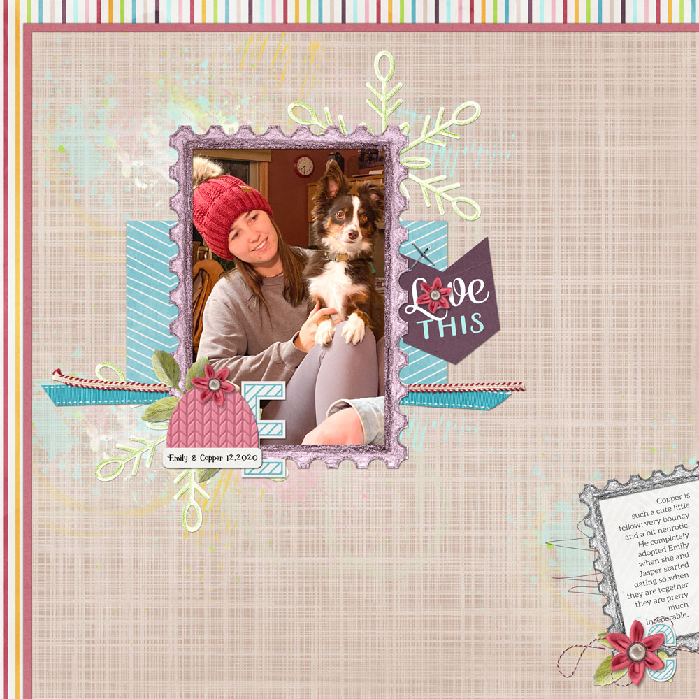 Page & Photo: Kellie Linn Template: Digital Scrapper Tutorial: Wave Filter Grunge Overlay by Jenifer Juris Kits: Snow, Snow, Snow by Akizo Designs Hat template: Christmas Greeting Cards 2, cable knit template by Jenifer Juris Font: Gingerbread Cake, Aleo