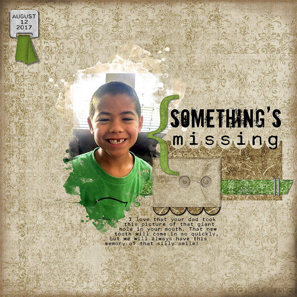 Page Author: Nanci Radford Photo: June Lee Tutorial: Selection Cut Out with the Elliptical Marquee Tool by Carla Shute Kits: Aidan Again by retrodiva, Spill Frame #27 by Katie Pertiet Fonts: Cella, Downcome