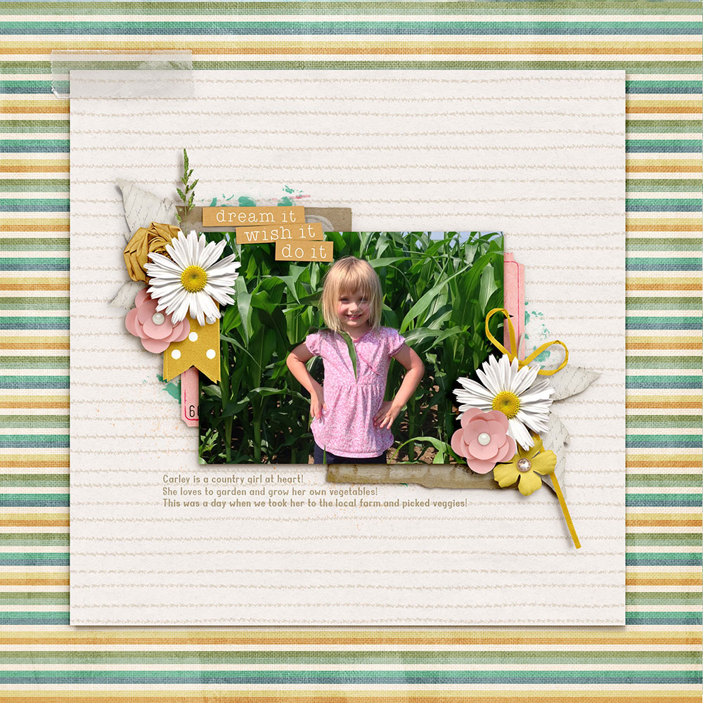 Photo and Layout: Ravelle Scherer Tutorial: Inky Outline Overlay with the Ripple Filter by Jenifer Juris Kits: Studio Basic Designs-Daydreamer; Poneytail Designs-Simply Lovely; Pink Reptile Designs-Rituals pt1 Morning; Prelestnaya P-Just Kiss Me; Simple Pleasures Design-Capture the Memories Font: Woodchuck