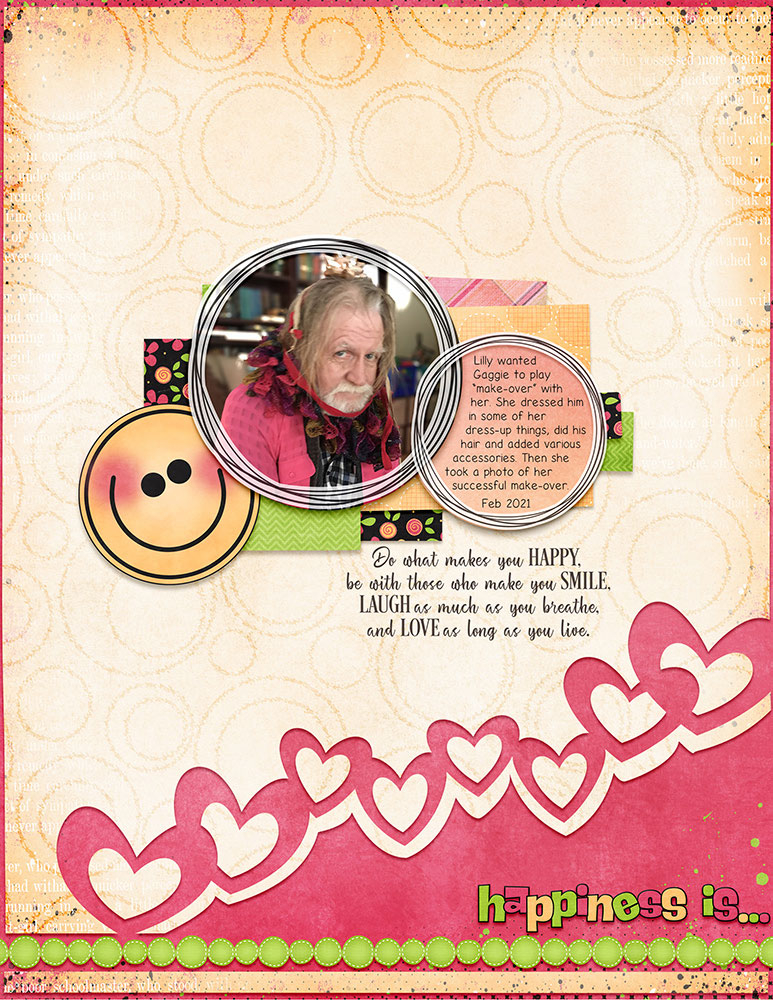 Page: Rose Cole Photo: Lilly H (grand daughter) Tutorial: Inky Outline Overlay with the Ripple Filter by Jenifer Juris Supplies: Make Life Grand template 1 - Just Because Studio, Color Me Happy by Jumpstart Designs and Fayette Designs, The Art of Happiness WordArt by Jumpstart Designs Font: Life's A Beach