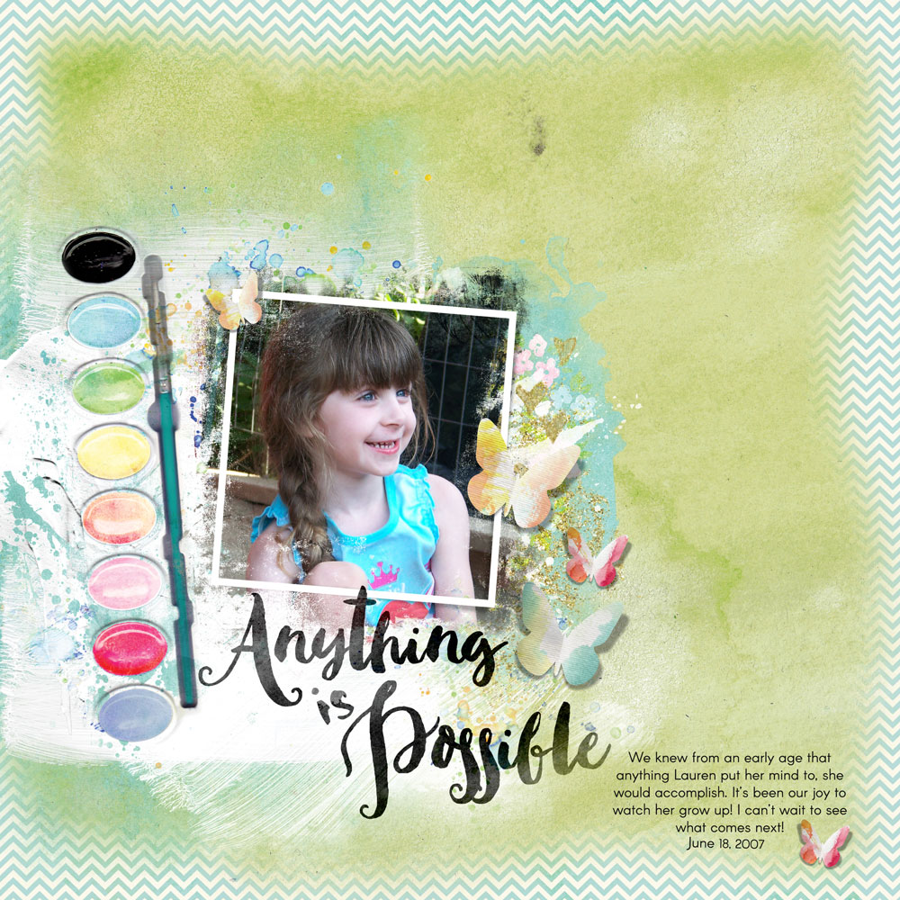 Page & Photo: Carla Shute Tutorial: Custom Edge with the Lasso Tool by Carla Shute Kits: Stories We Tell Collection Biggie, Paper Mini and Embellishment Mini by Syndee Nuckles Font: Arcon