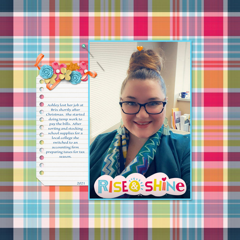 Photo: Ashley Wiggins Layout: Laura Wiggins Tutorial:Playful Plaid by Karen Schulz Kit: Be Extraordinary by BHS Font: Sanvito