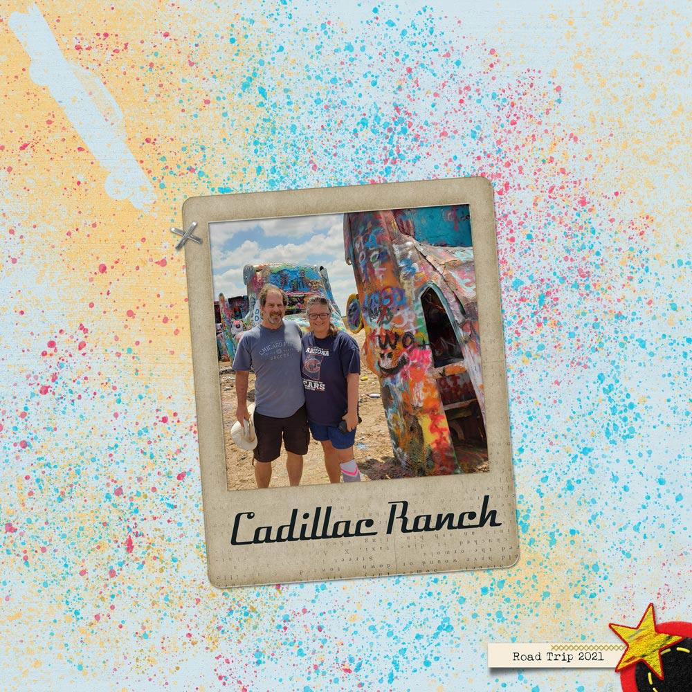 Photo & layout: Val SlegerTutorial: Splatter Stencil by Carla ShuteKit: Road Trip by Miss Kim Designs, PNG stencil: Phil Kessel from FAVPNGFonts: Velocette and Lucky Typewriter