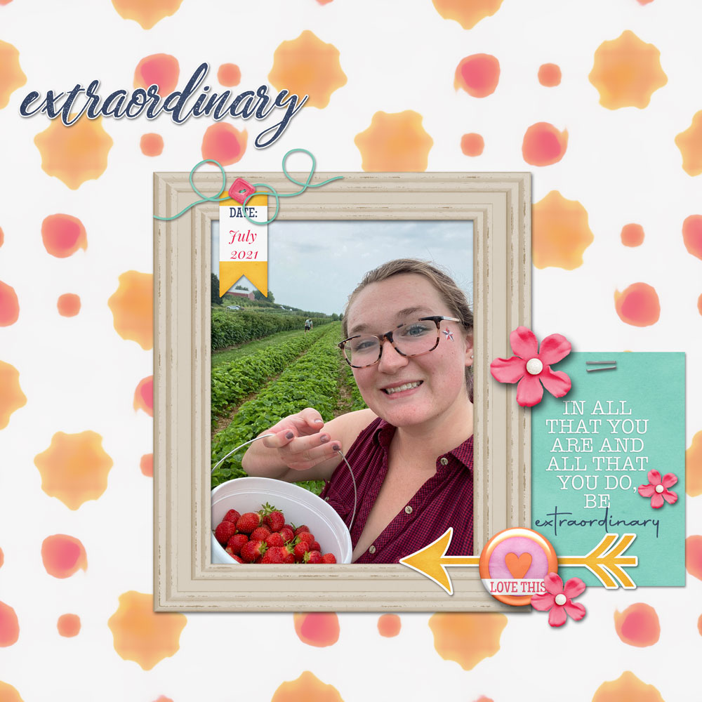 Photos & Layout: Laura Wiggins Tutorial: Abstract Art with the Median Filter by Jenifer Juris Kit: Be Extraordinary by BHS