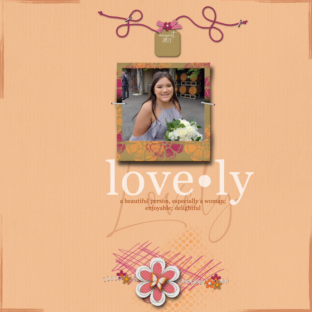 Page & Photos: Val Sleger Tutorial: Dictionary Word Art by Carla Shute Kit: Floral Frenzy by Paper Capers Designs Fonts: Georgia, Romantically Free